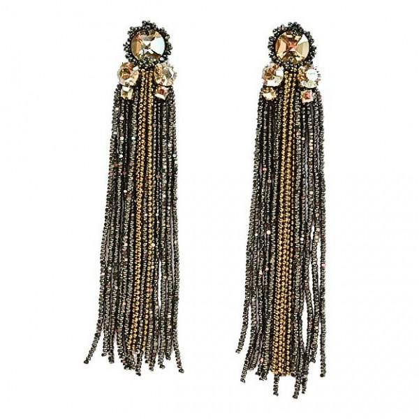 Sheen Tasseled Earrings – Gunmetal by Begada