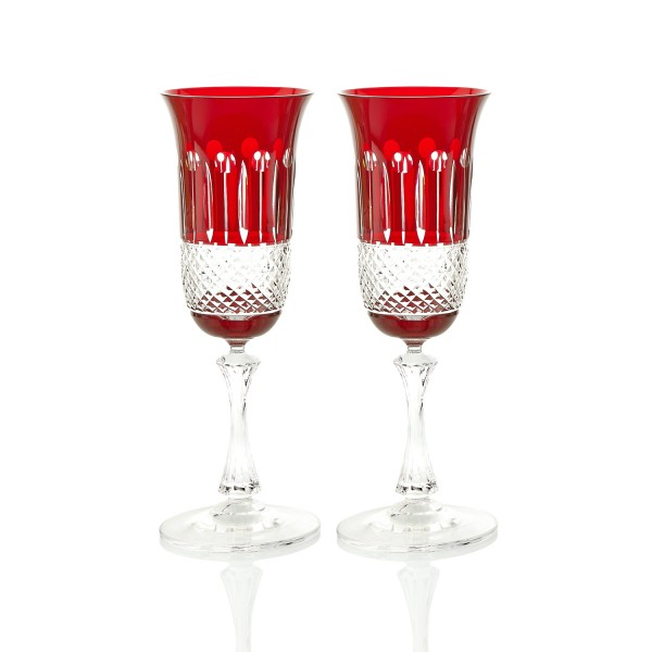 Ruby Red Champagne Glasses  – Set of 2 by Gurasu Crystal