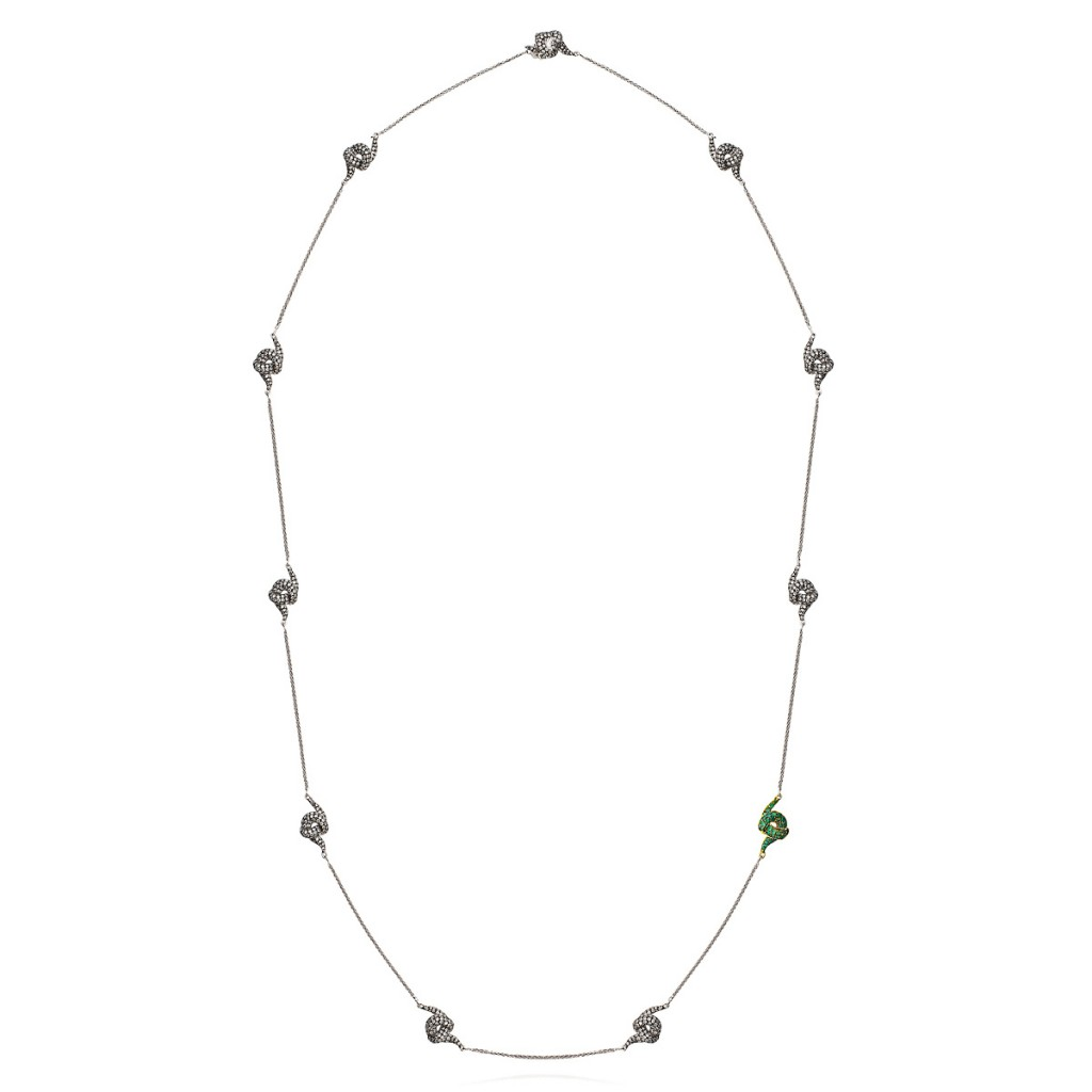 Diamond Necklace with Emeralds by Leyla Abdollahi