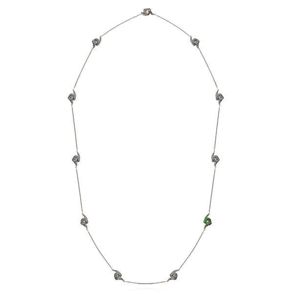 Diamond Necklace with Emeralds by Leyla Abdollahi