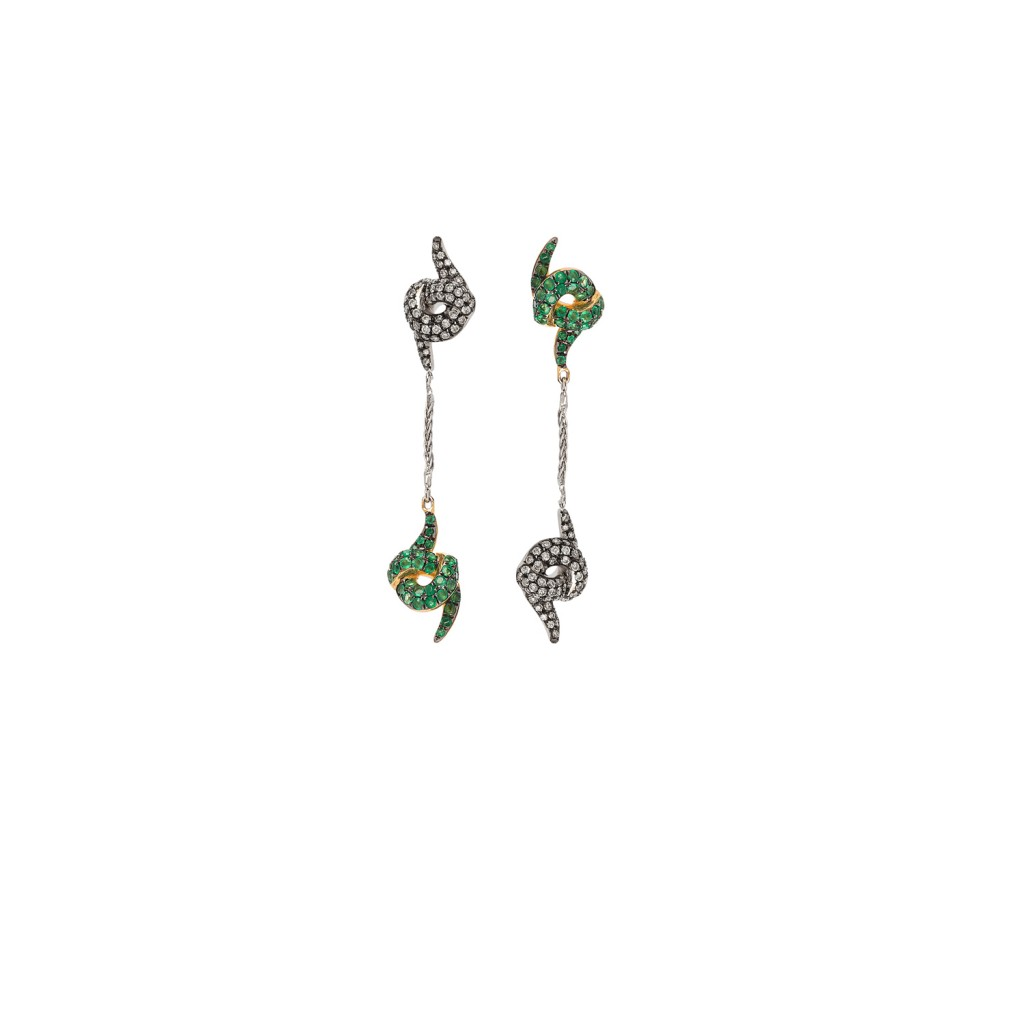 Diamond and Emerald Earrings by Leyla Abdollahi