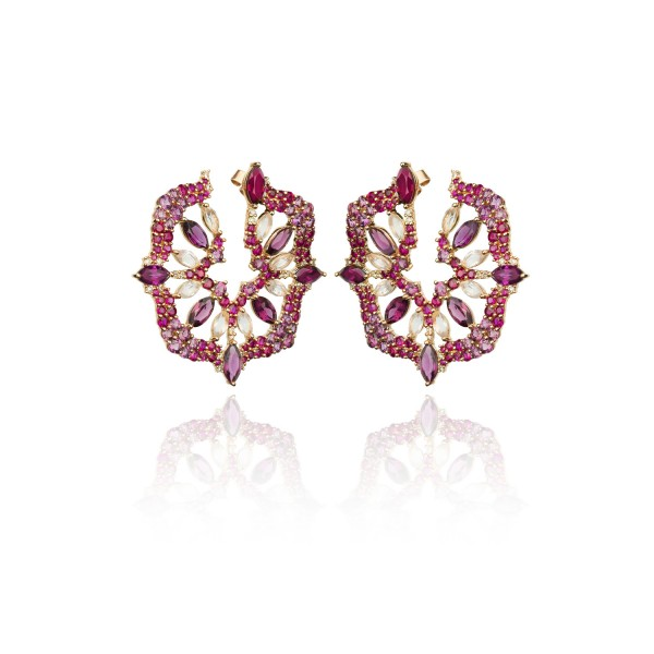 Radiant Rose Quartz and Ruby Earrings by Leyla Abdollahi