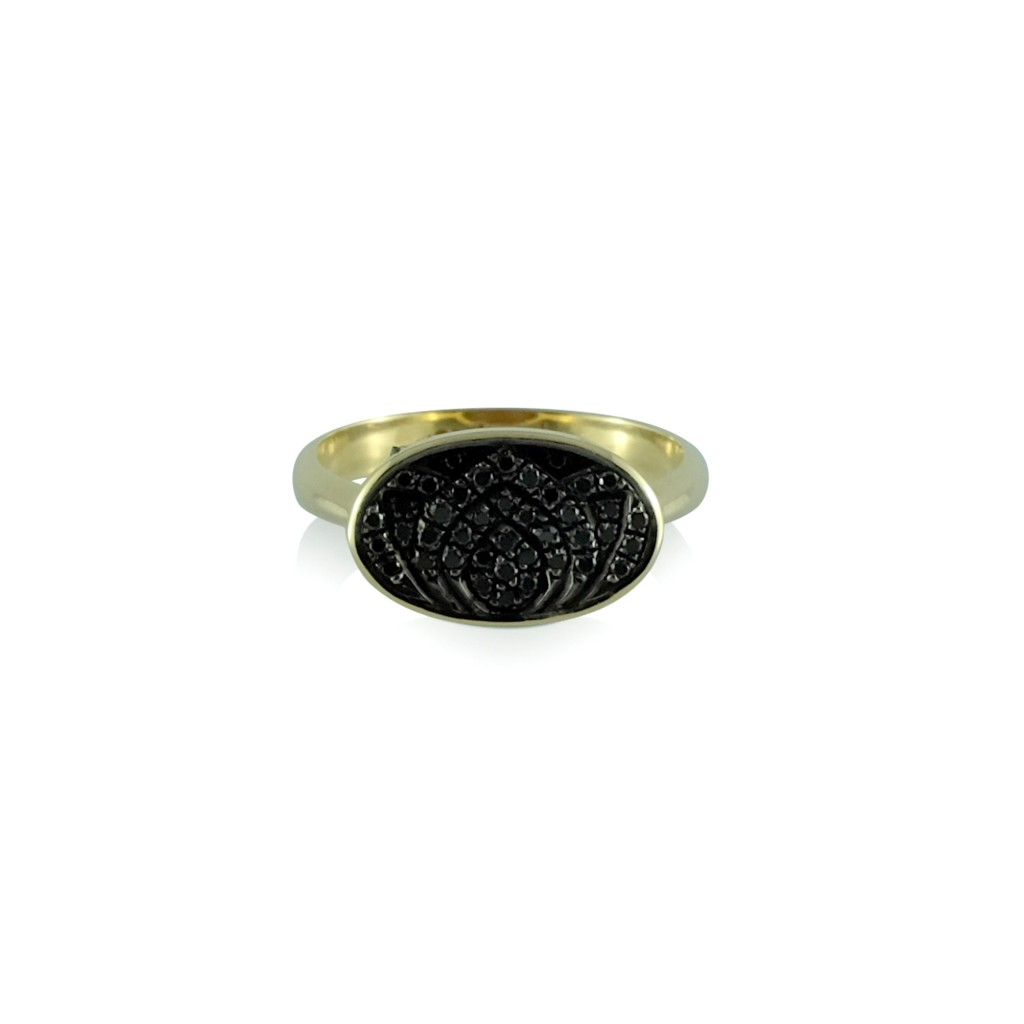 Black Diamond Lotus Gold Ring by Luca Jouel