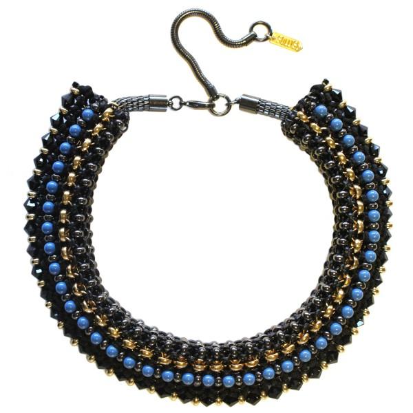 Congo Statement Necklace – Black by SOLLIS