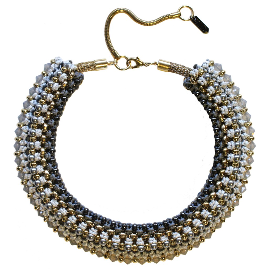 Congo Statement Necklace – Grey by SOLLIS