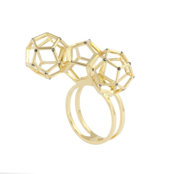 Triple Dodecahedron Ring by KATTRI