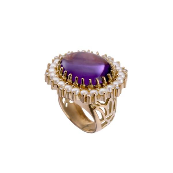 The Lotus Ring Amethyst by Azza Fahmy