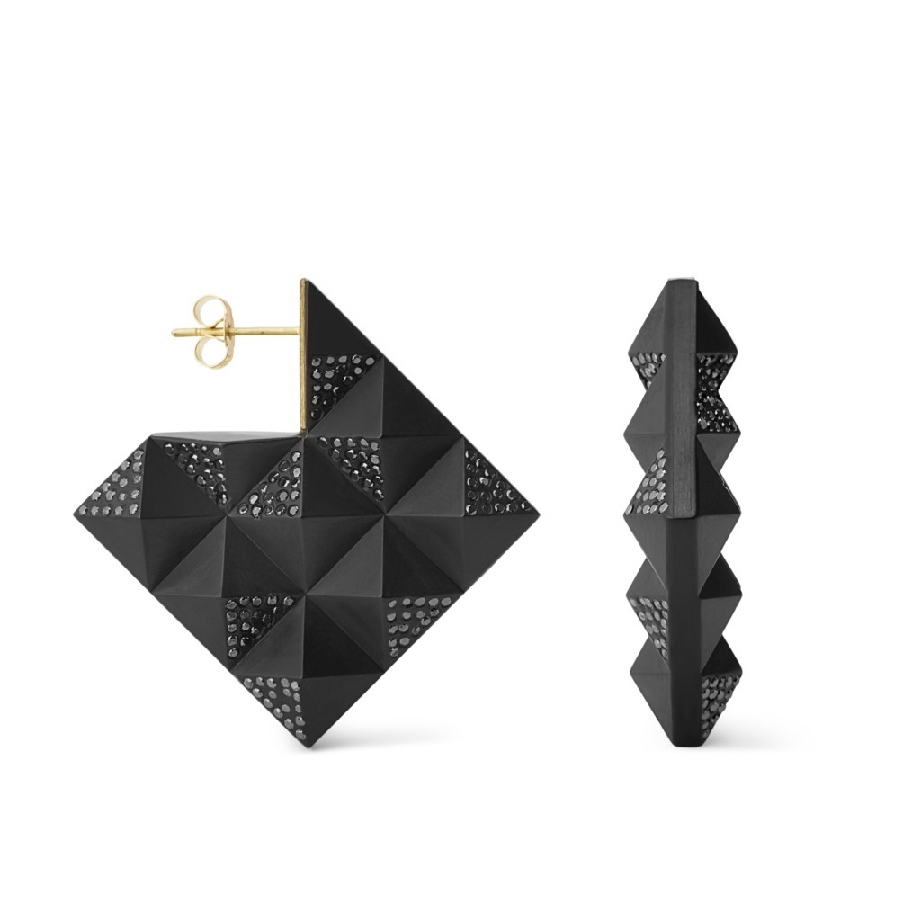 Pyramid Black Diamond Earrings by Jacqueline Cullen