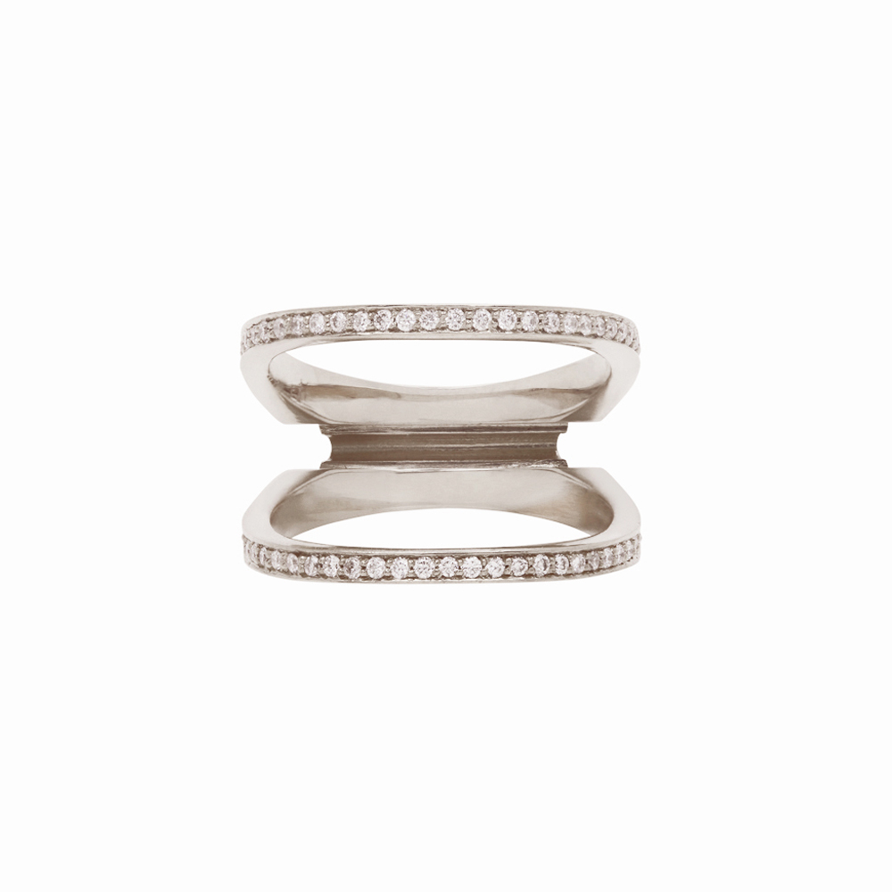 Acute Enclose Ring White Gold