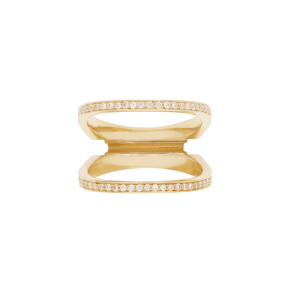 Acute Enclose Ring Yellow Gold by Bliss Lau