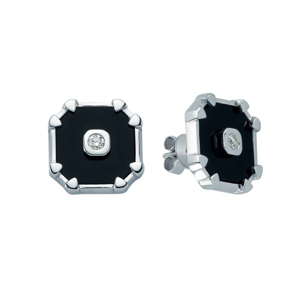 Dark Octagon Earrings by Melis Goral