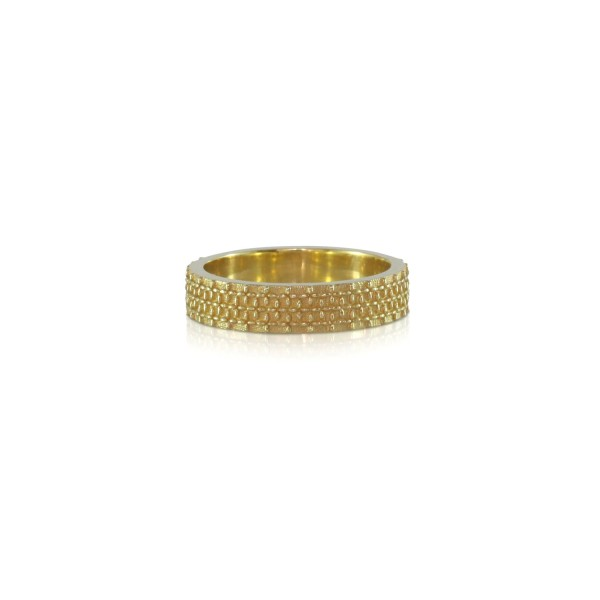 Gold Patterned Ring by Luca Jouel