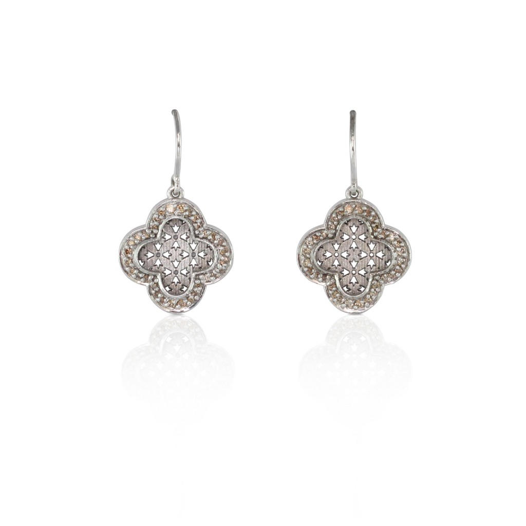 Diamond Palladium Earrings by Luca Jouel