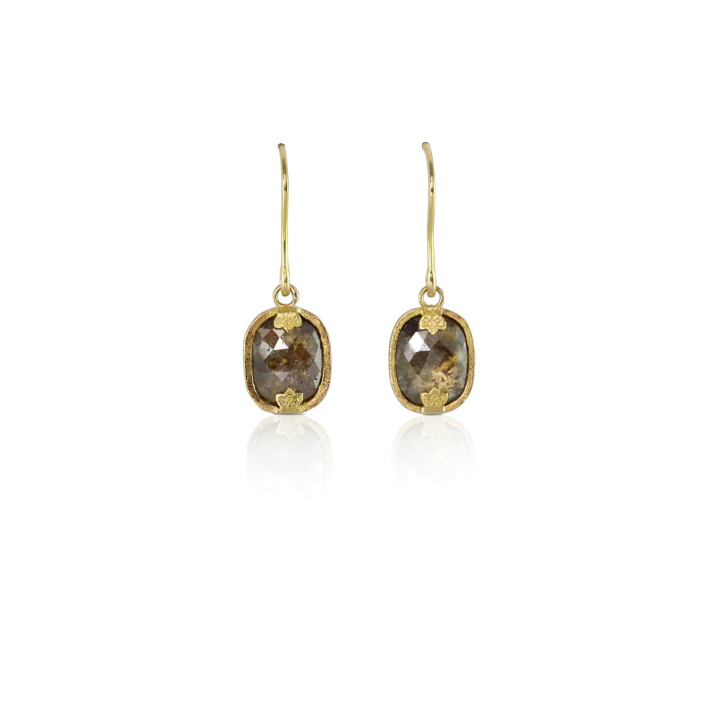 Rose Cut Diamond Gold Earrings by Luca Jouel
