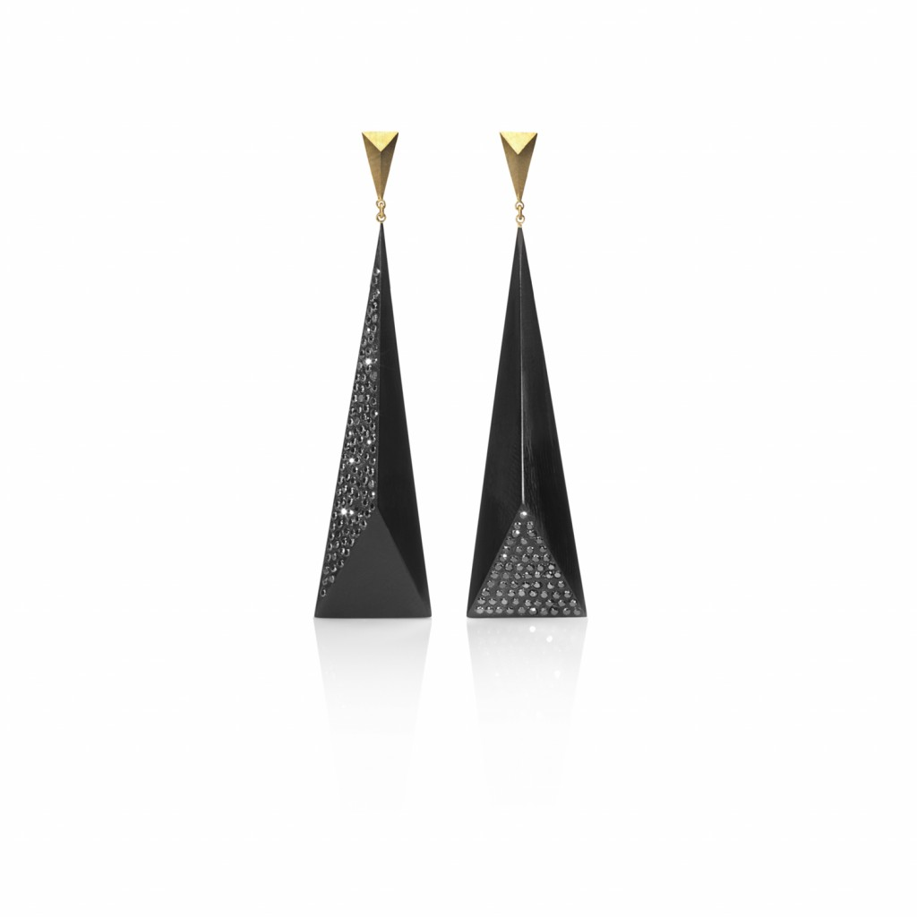 Black Diamond Faceted Earrings by Jacqueline Cullen
