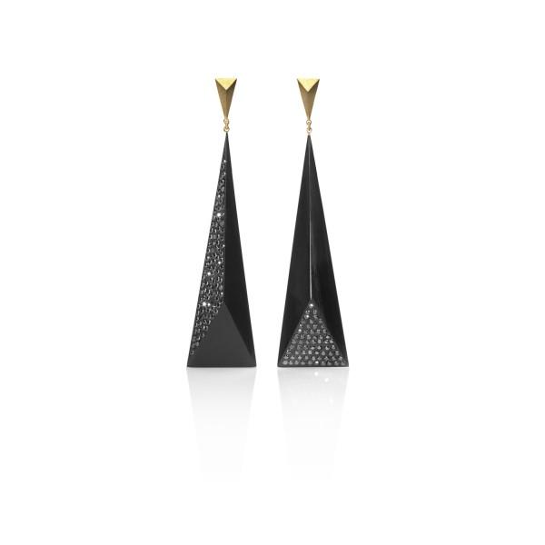 Black Diamond Faceted Earrings