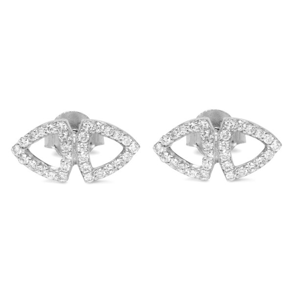 Pyramid Stud Earrings White Gold