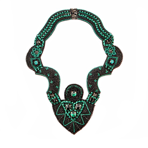 Muse Necklace Black and Teal by Begada