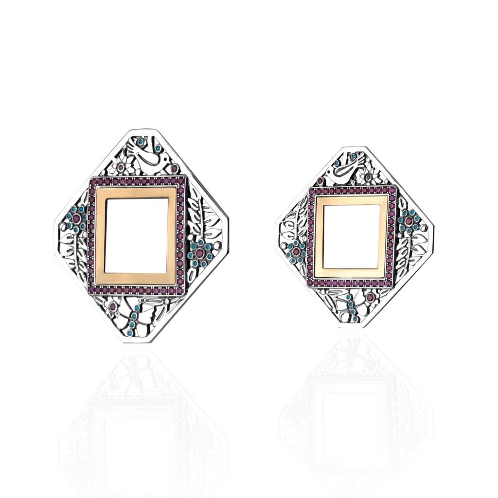 Diamond-shape Nature Earrings by Azza Fahmy