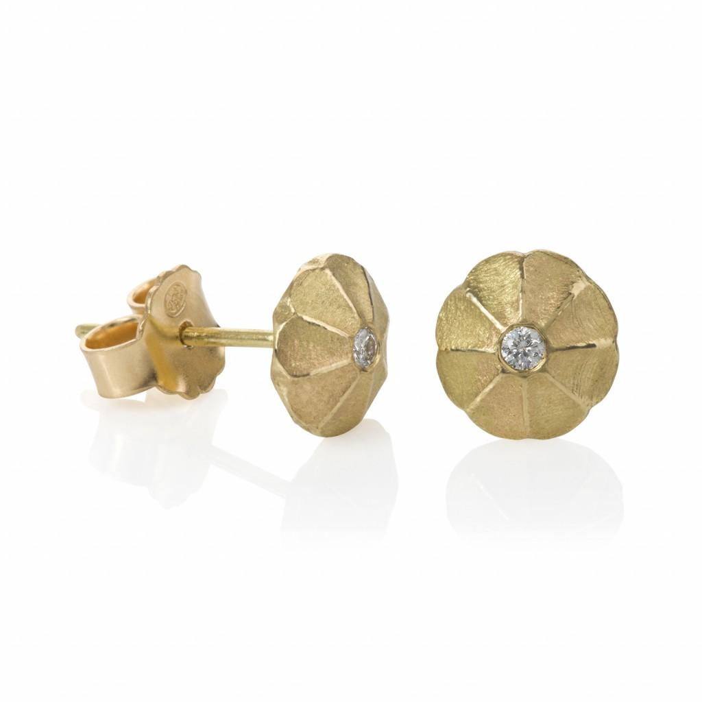 Lotus Drop Diamond Stud Earrings