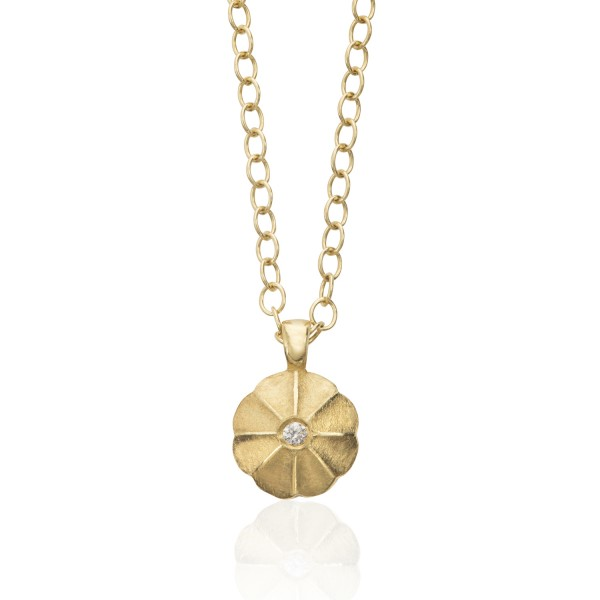 Lotus Drop Diamond Pendant