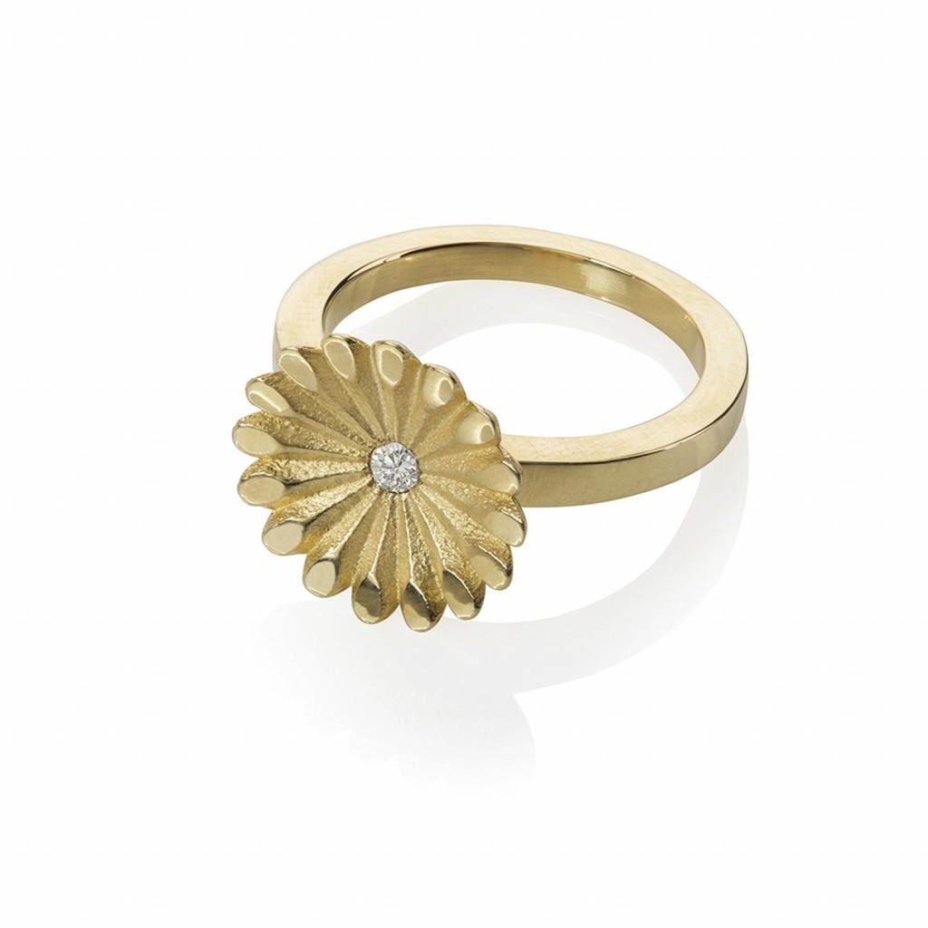 Lotus Radial Diamond Ring