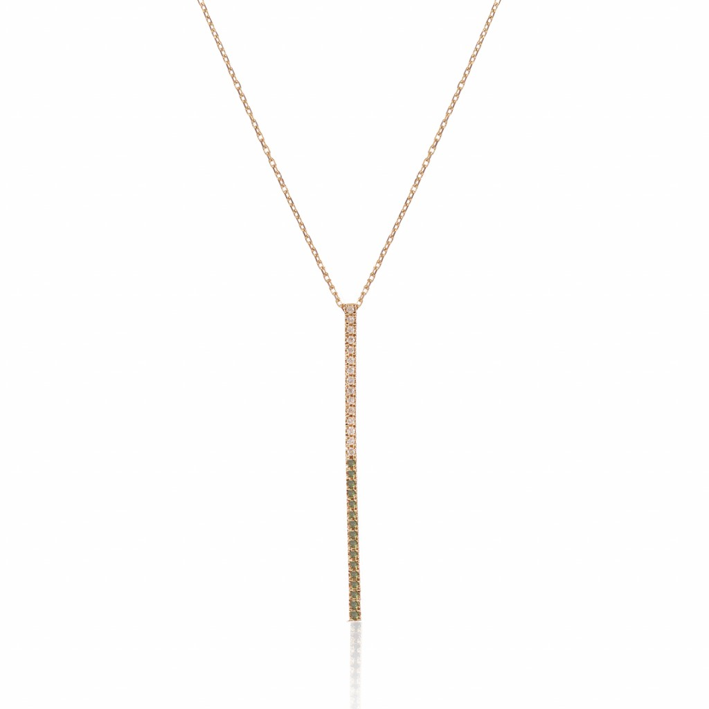 Bar Necklace with Green and White Diamonds by GFG Jewellery