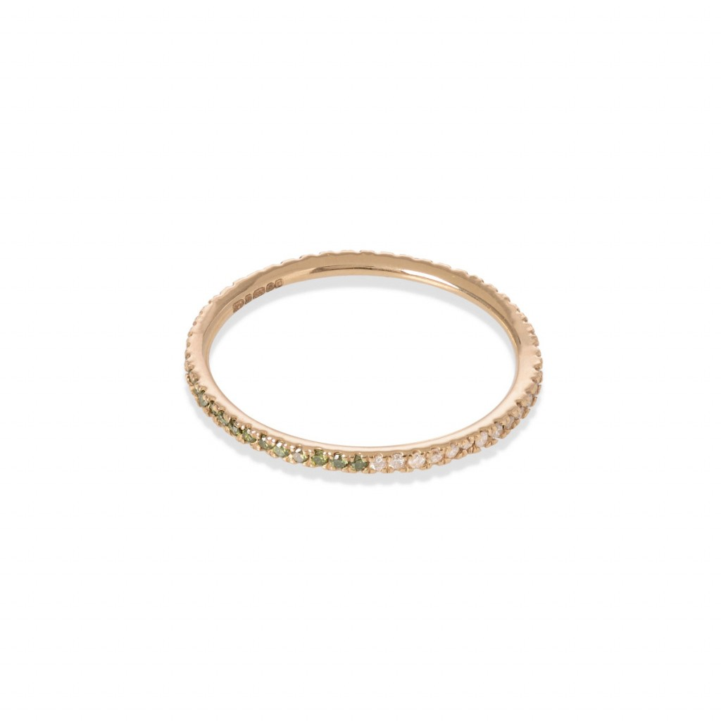 Eternity Ring with Green and White Diamonds by GFG Jewellery