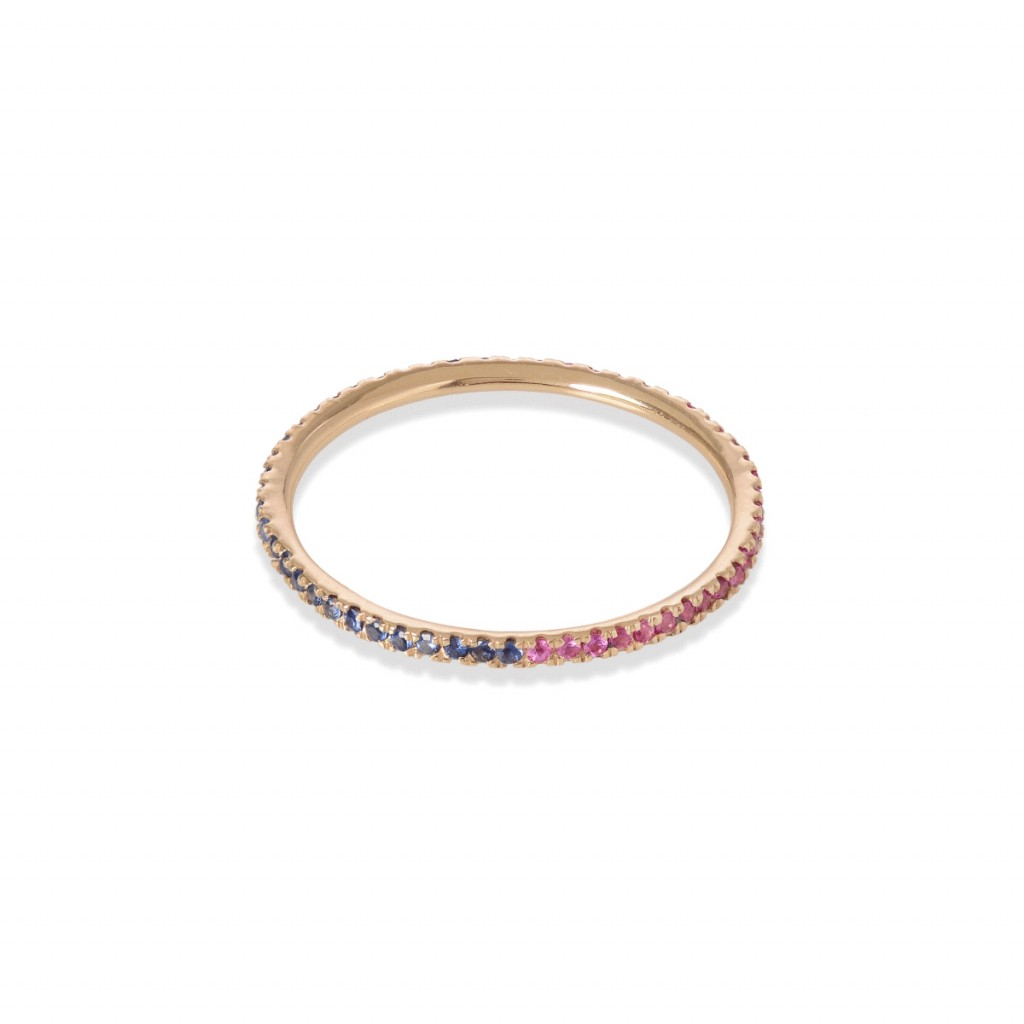 Eternity Ring with Pink and Blue Sapphires by GFG Jewellery