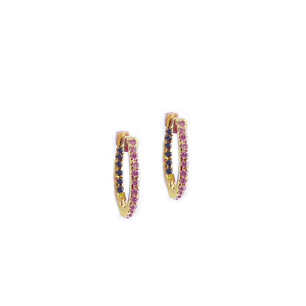 Huggie Hoops with Pink and Blue Sapphires by GFG Jewellery
