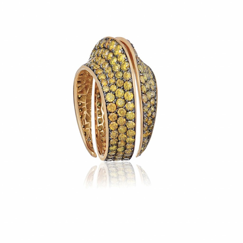 Spira Ring with Yellow Diamonds