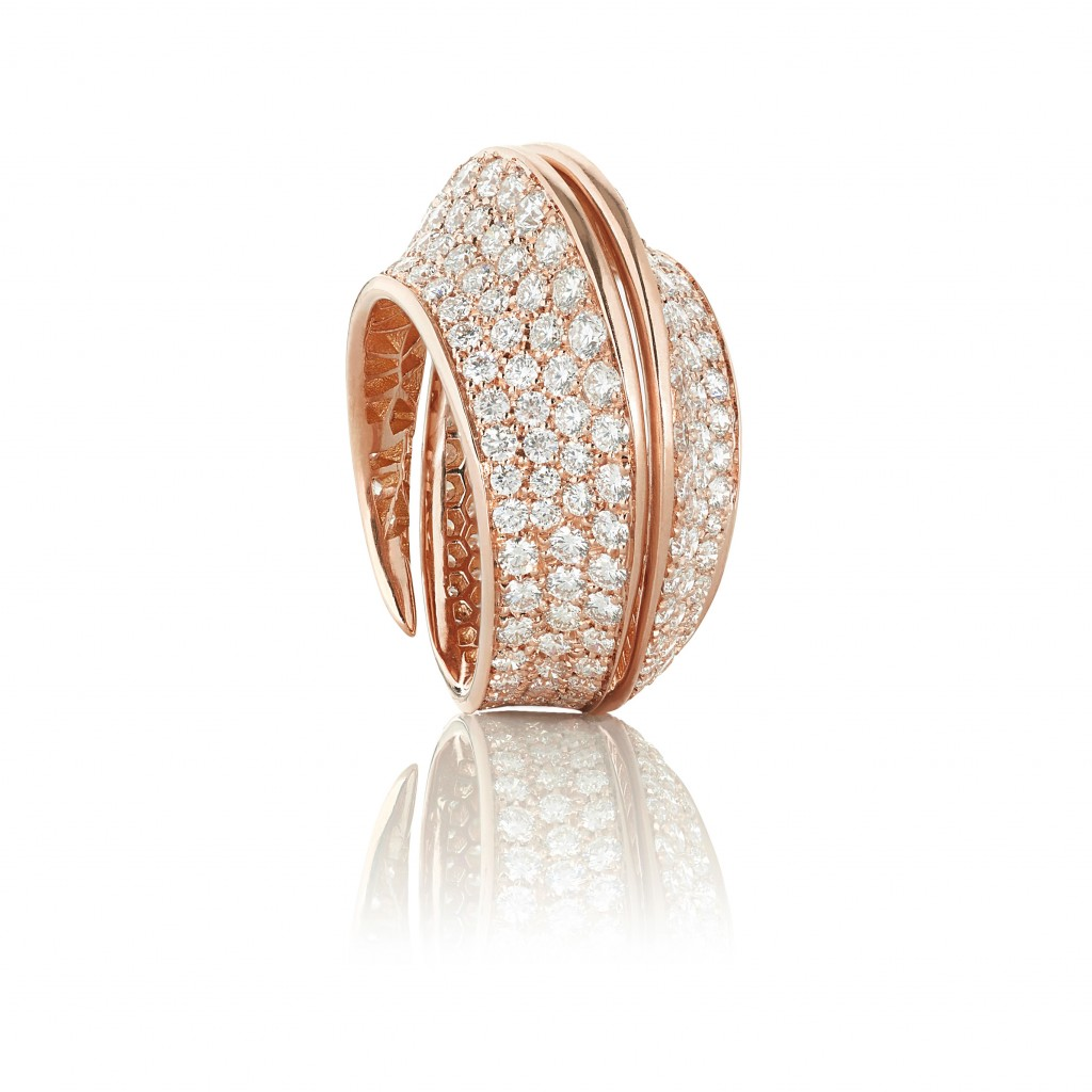 Spira Ring in Rose Gold with Full Pavé