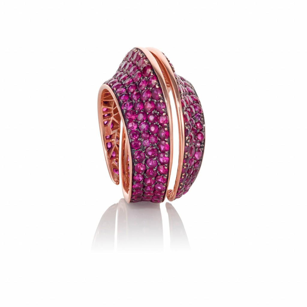 Spira Ring with Rubies