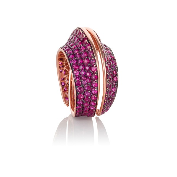 Spira Ring with Rubies by Lily Gabriella
