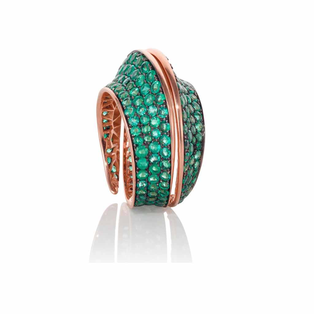 Spira Ring with Emeralds