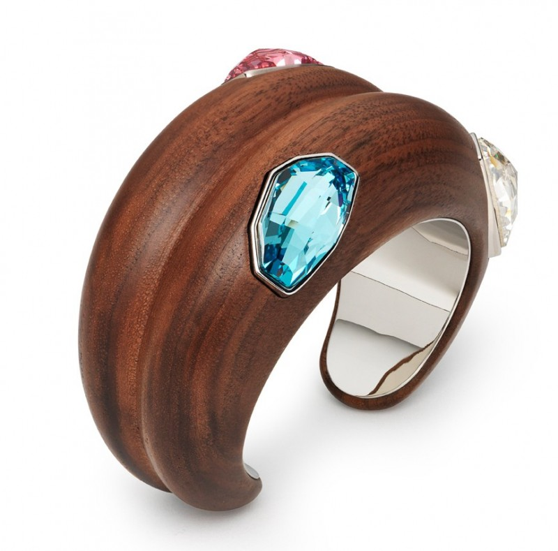 Large Wood Cuff in Rose by Fiona Kotur