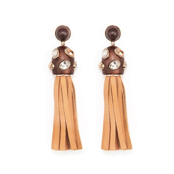 Golden Tassel Earrings by Fiona Kotur