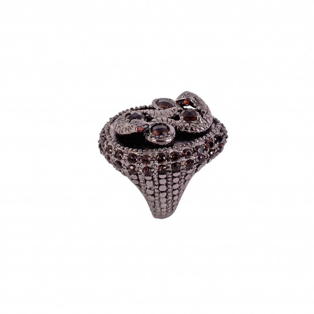 Cleopatra Noir Ring in Smoky Quartz by Vara Of London