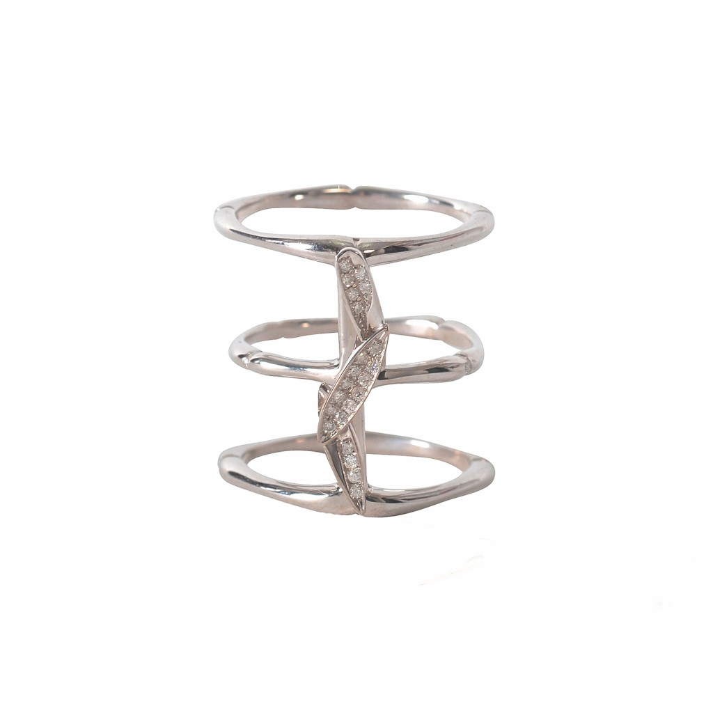 Bamboo Leaves Ring in White Gold