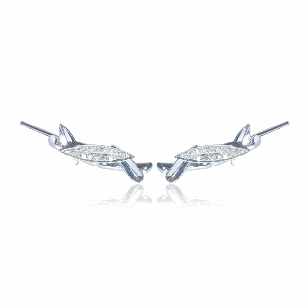 Bamboo Leaves Ear Climbers in White Gold by Vara Of London