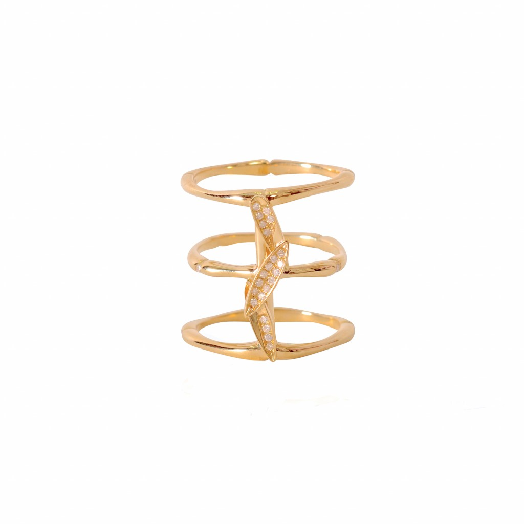 Bamboo Leaves Ring in Gold by Vara Of London