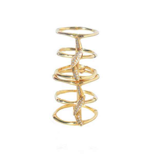 Bamboo Leaves Full Finger Ring in Gold