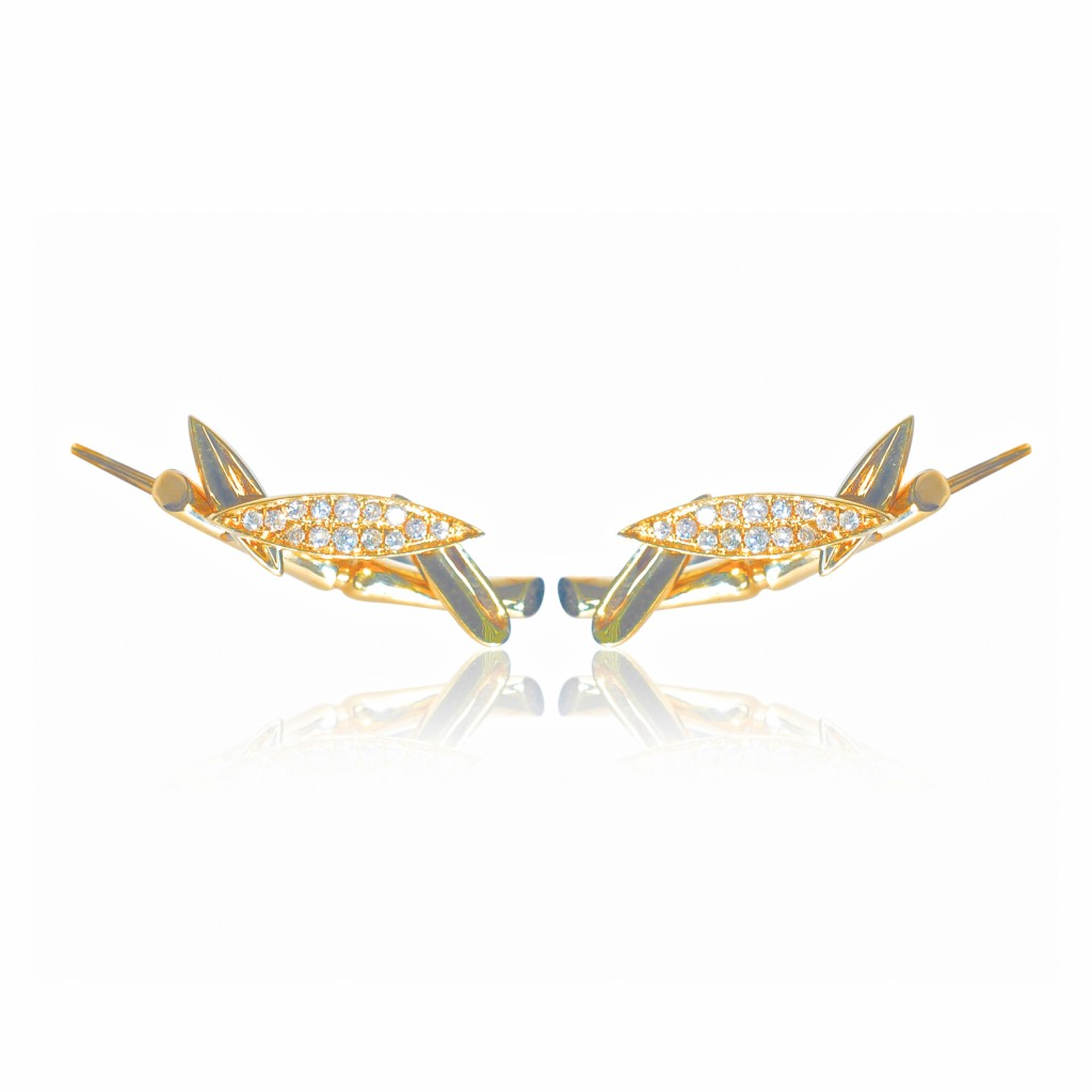 Bamboo Leaves Ear Climbers in Gold by Vara Of London