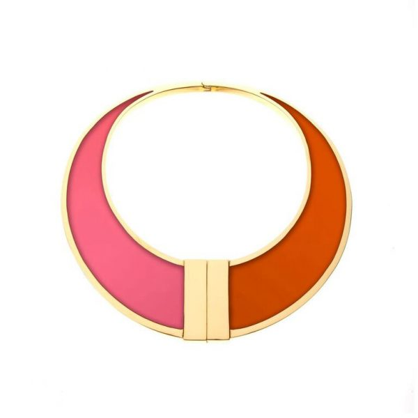 Asterix Collar in Pink & Orange by Bex Rox