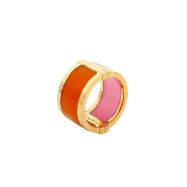 Large Celeste Ring in Pink & Orange by Bex Rox