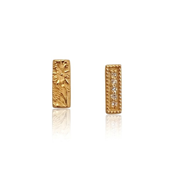 Goldy Bar Bloem Studs by Luca Jouel