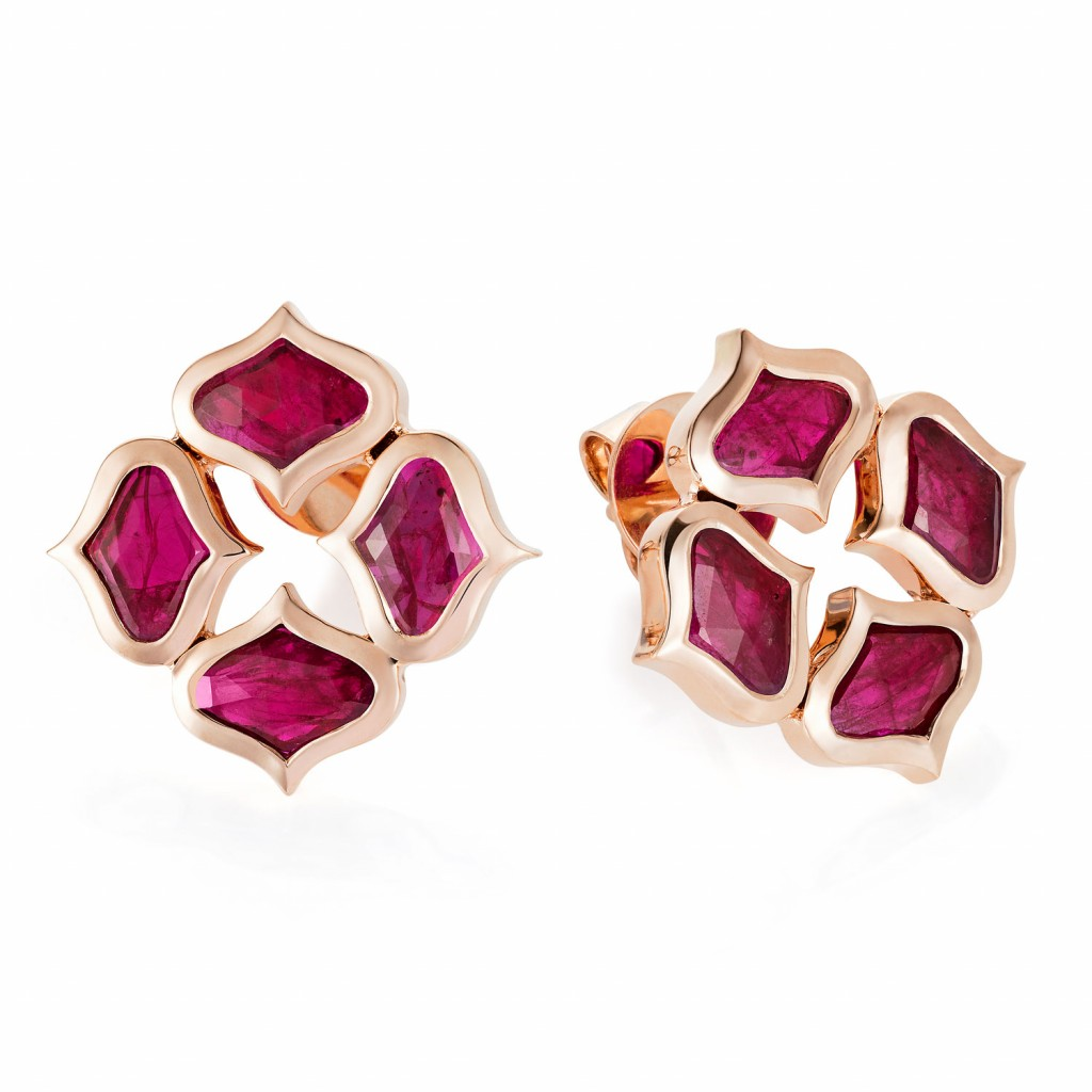 Lattice Earrings in Ruby by Gyan Jewels