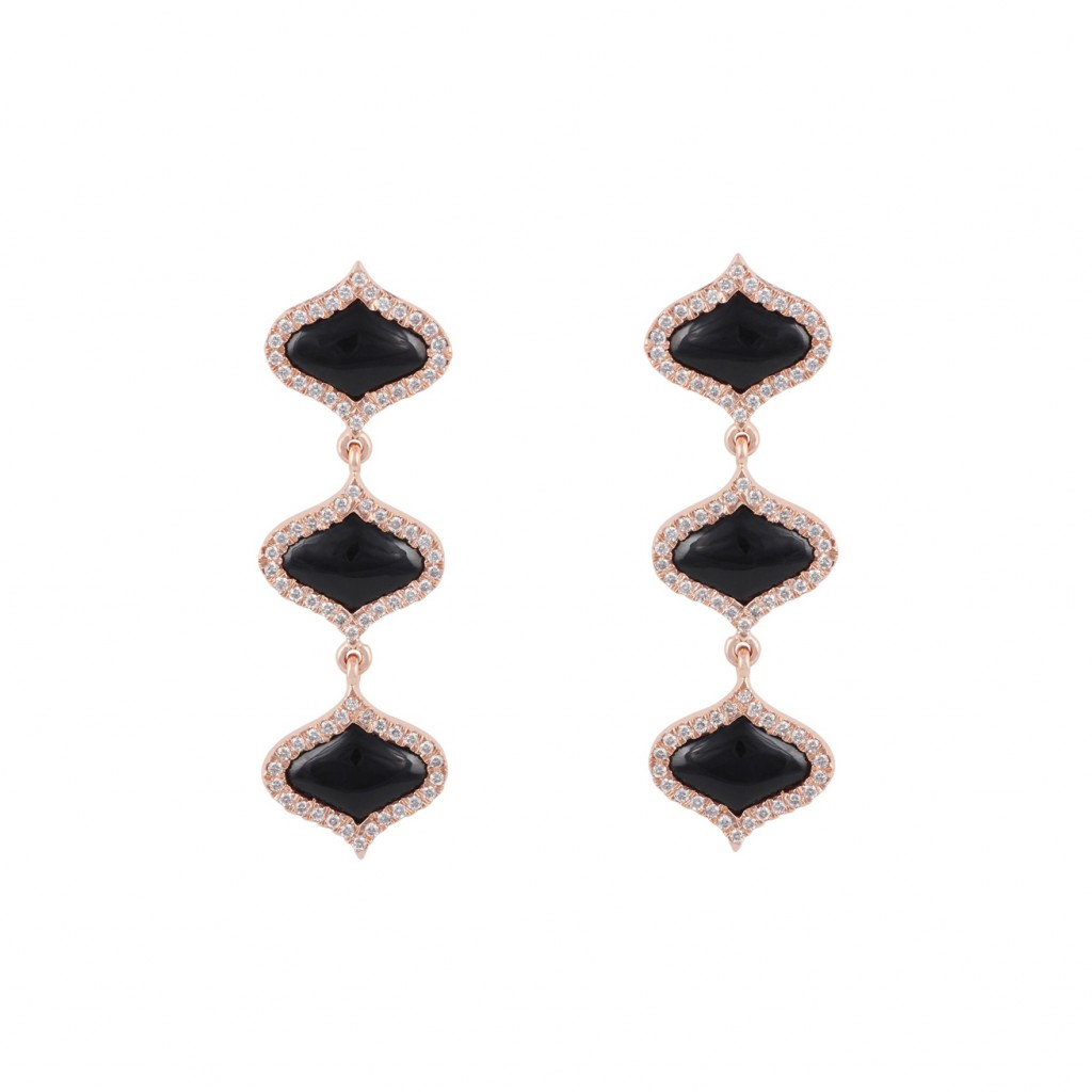 Lattice Earrings in Onyx by Gyan Jewels