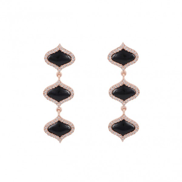 Lattice Earrings in Onyx