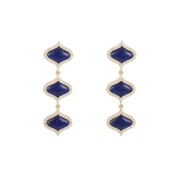 Lattice Earrings in Lapis Lazuli by Gyan Jewels